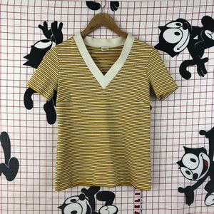 Vintage Pastel Yellow Striped V-neck T-shirt